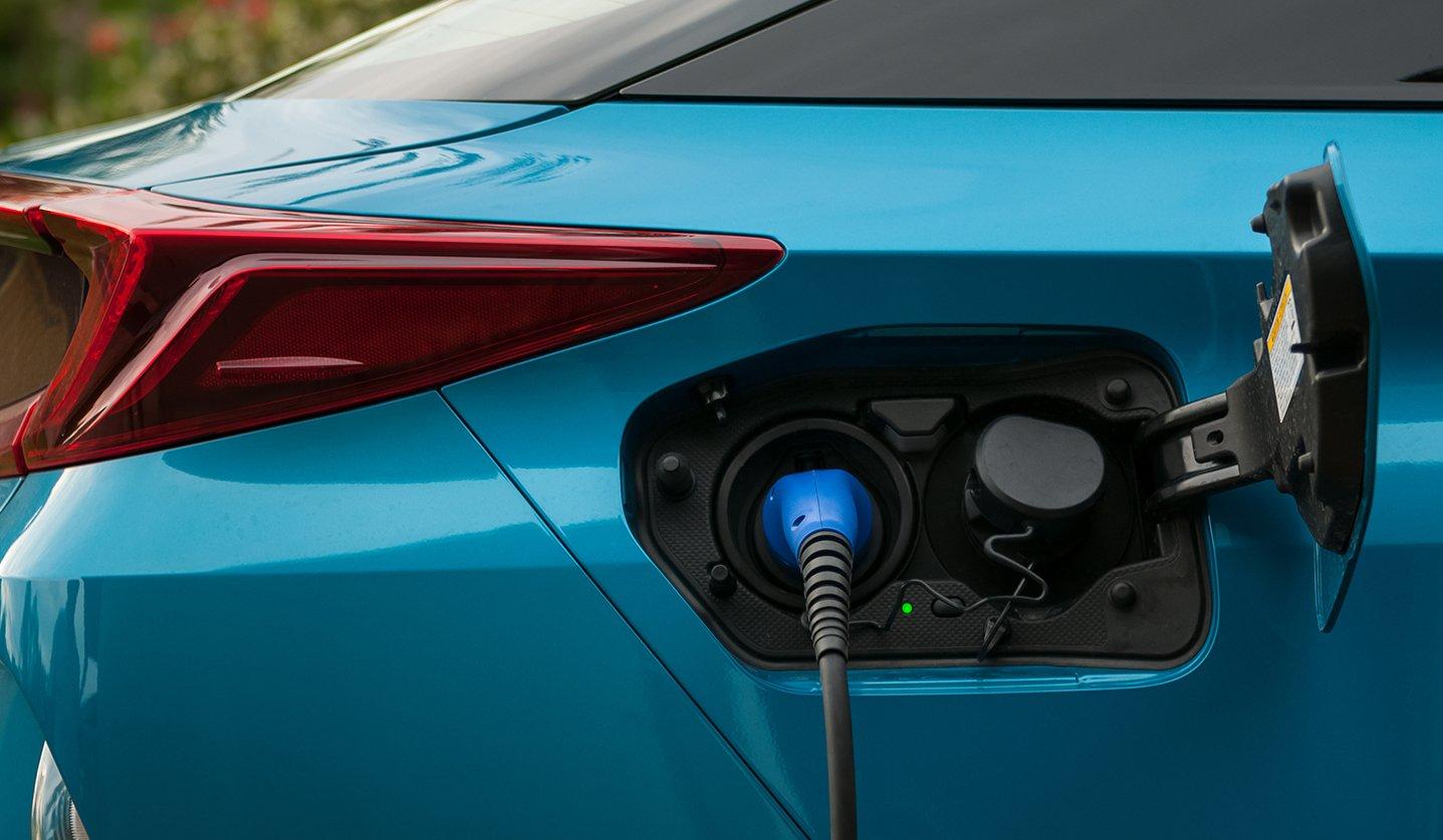 Particolare di auto Hybrid: sportello rifornimento